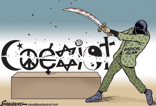 coexist slashed by radical islam