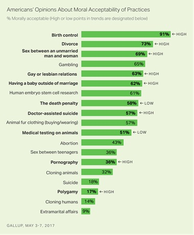 Gallup on American Opinions on Moral Acceptability